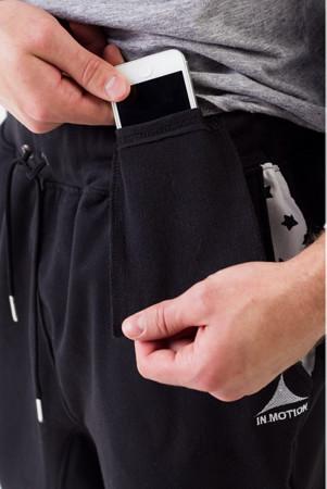 Parkourové harem tepláky InMotion černé - kapsa na mobil